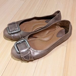 Fossil Metallic Taupe Leather Ballet Flats Wm's 10
